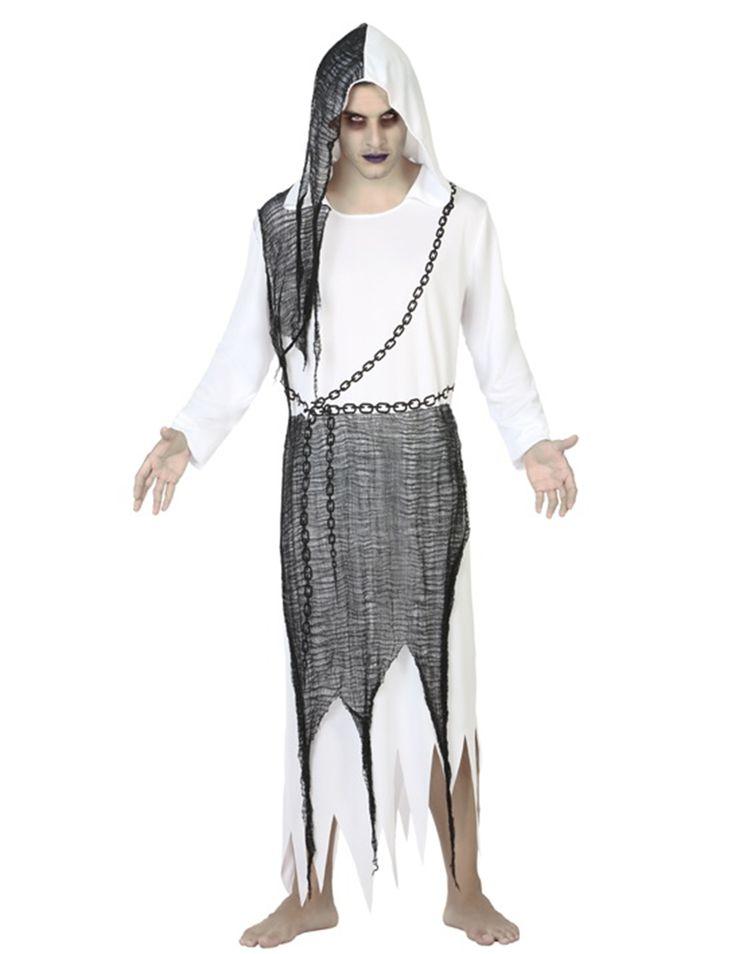 Déguisement fantome homme Halloween : Ce déguisement de fantôme pour homme se compose d'une robe longue. Cette robe longue est blanche avec une capuche. Un filet noir est cousu au niveau de la capuche, de...