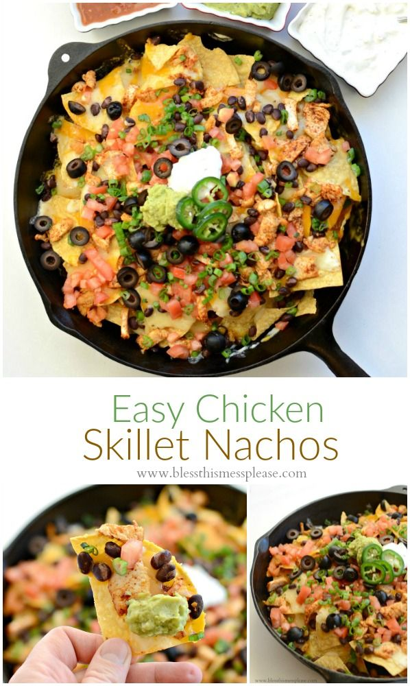 Easy Chicken Skillet Nachos ~ Quick and easy chicken nachos that are made with chips, loads of cheese, beans, and more! Perfect for feeding a crowd.