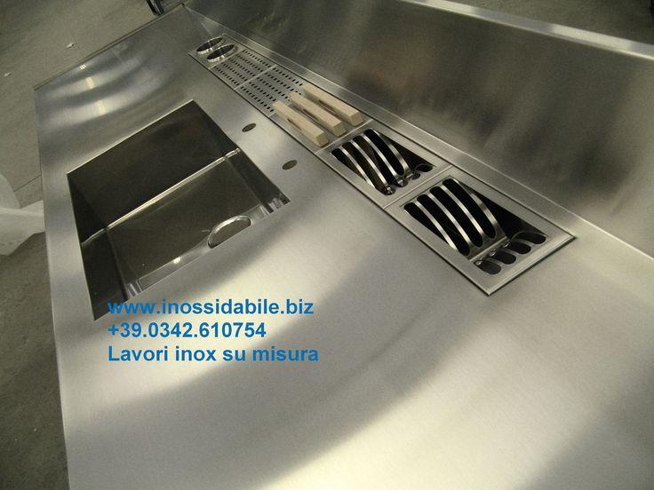 piano cucina inox con canale attrezzato valtellina | da pagaia