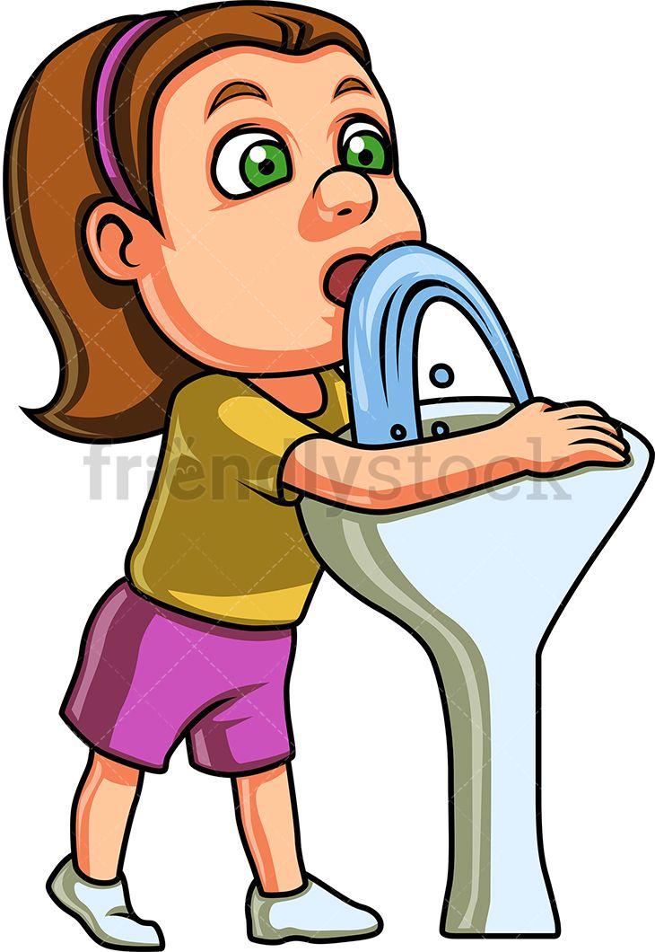 Girl Drinks Water From Drinking Fountain Cartoon Clipart Vector Friendlystock Drinking Fountain Cartoon Clip Art Cartoon