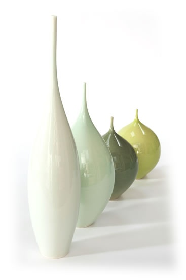 I love the way these porcelain pieces look as if each one is a bit more squashed than the previous one.