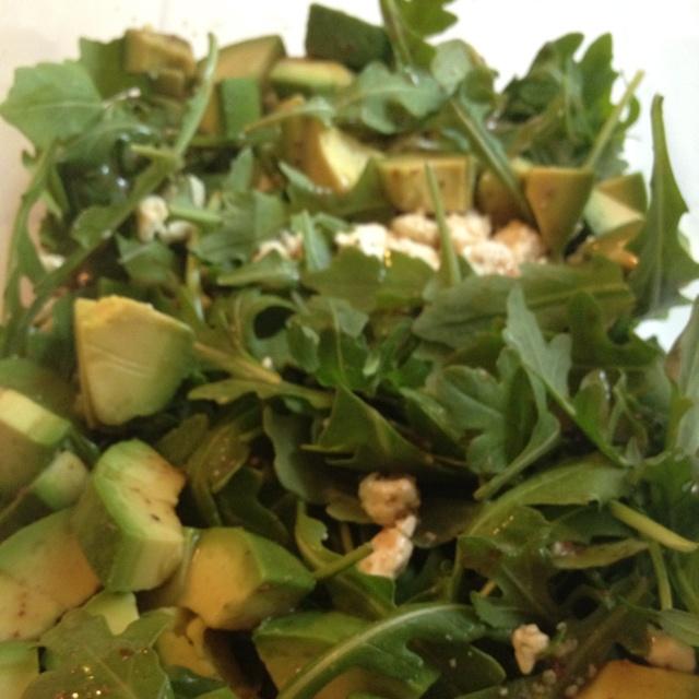 Arugula with feta and avocado salad