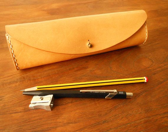Leather Pencil Case with Stud Closure. Handmade from by Dasse