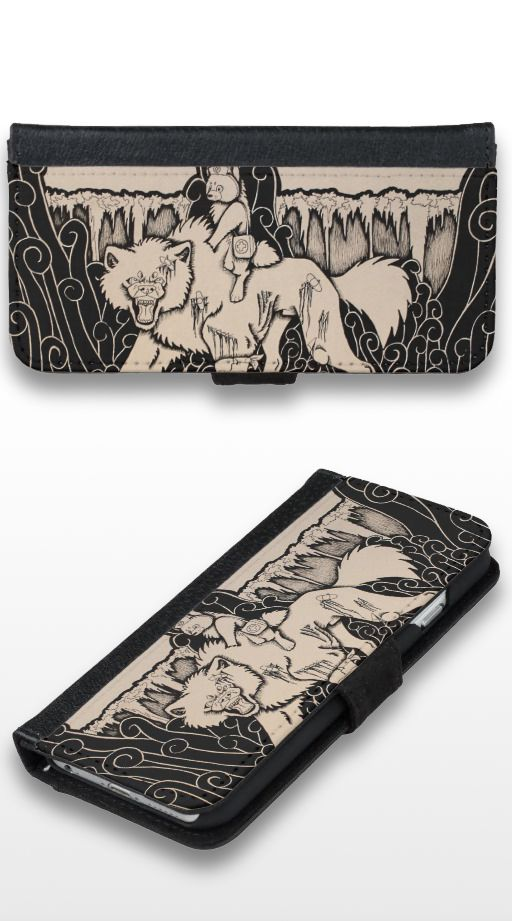 """The Nurse"" Black and white wolf and dog illustration iPhone 6/6s Wallet Case"