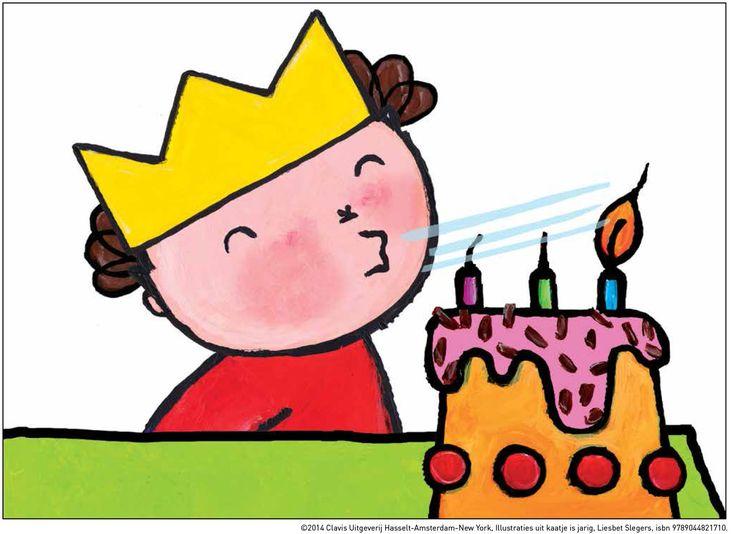 Verjaardagskaartjes met illustraties van het boek Kaatje is jarig van Liesbet…