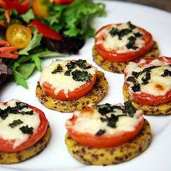 Cheesy Pizza Alternative: Tomato, Basil, and Mozzarella Quinoa Polenta