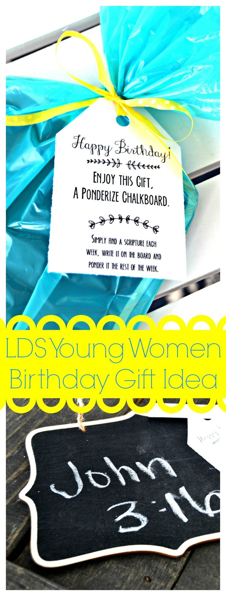 Best Christmas Gifts For Young Women Part - 25: LDS Young Women Ponderize Chalkboard Gift Idea
