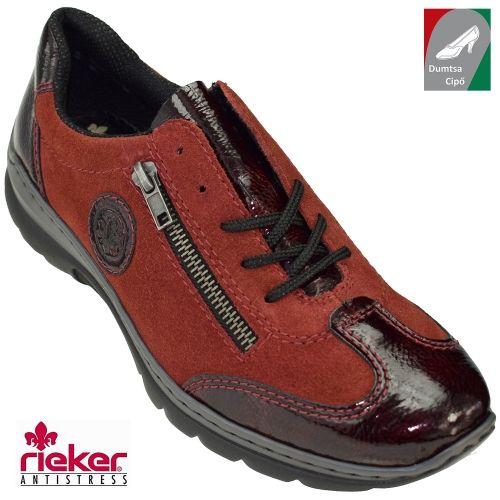Rieker női bőr cipő L3213-35 bordó kombi