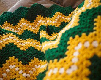 Crochet Baby Blanket - Green Bay Packers - Crochet Baby Afghan - Football