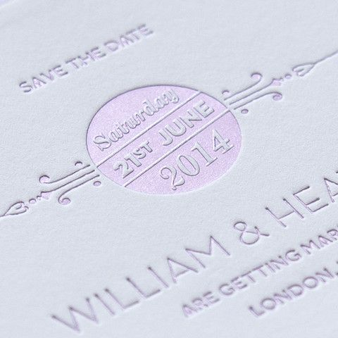 Letterpress wedding save the date, St Pancras stationery collection. Lilac foil on white board, from £6.00 eagleeyedbride.com #wedding #metallic