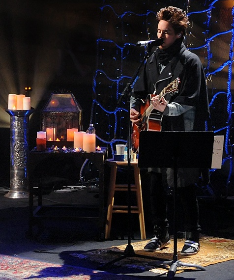 Jared Leto strums his guitar during the 'Unplugged' performance of 'Hurricane.'