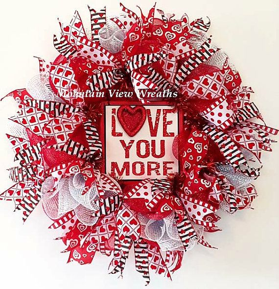 Bold red and white Valentine's Wreath with a splash of black for a modern twist.
