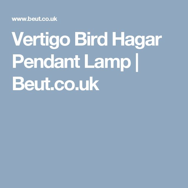 Vertigo Bird Hagar Pendant Lamp | Beut.co.uk