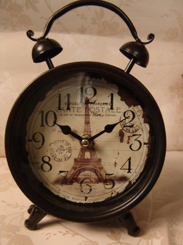 Dark Expresso Brown Black and Cream Vintage Style Paris clock with post card Stamp design - Traditional Alarm clock Style - Ideal for bedroom or Bedside , http://www.amazon.co.uk/dp/B0082LI7NQ/ref=cm_sw_r_pi_dp_Nc-ysb0EN7S54
