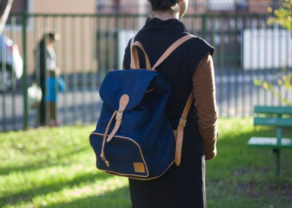 Leather & Canvas Backpack by Kushn on Etsy, $135.00