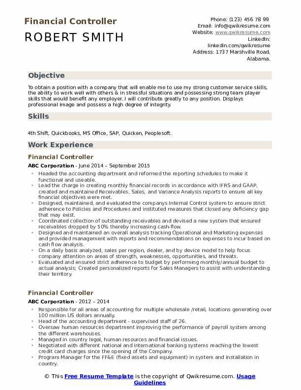Financial Controller Resume Samples Resume Examples Sales Resume Examples Resume