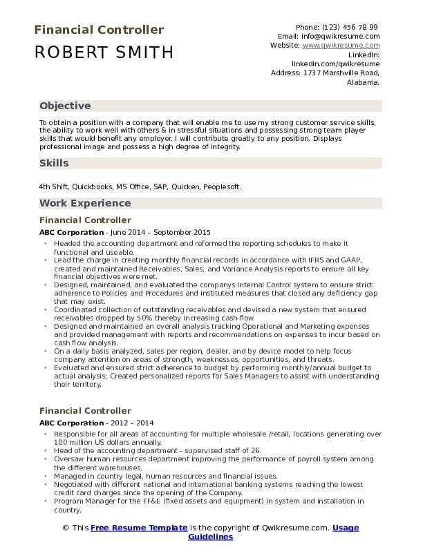 Financial Controller Resume Samples Sales Resume Examples Resume Objective Manager Resume