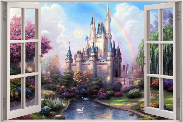 Details about 3d window view fantasy castle princess for Cinderella castle wall mural