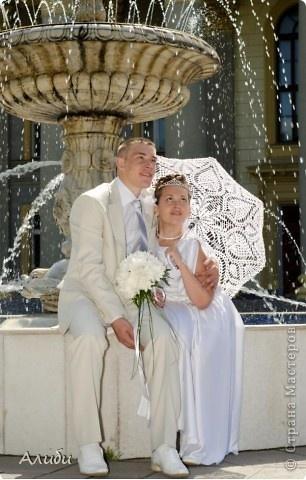 Украшение Вязание крючком: Свадебный зонтик Нитки Свадьба. Фото 3