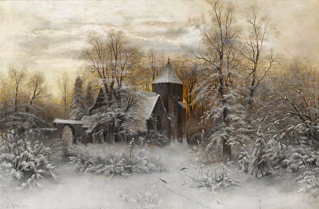 """Yuli Yulievich Klever (1850-1924), """"A winter's evening"""" 