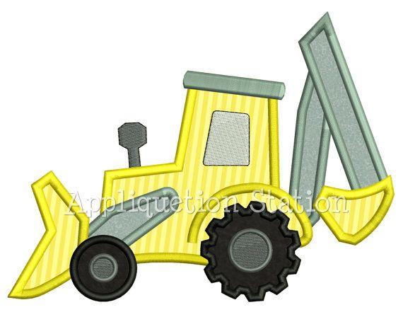 Vehículo tractor Bulldozer retroexcavadora Boy apliques bordado diseño granja de descarga instantánea