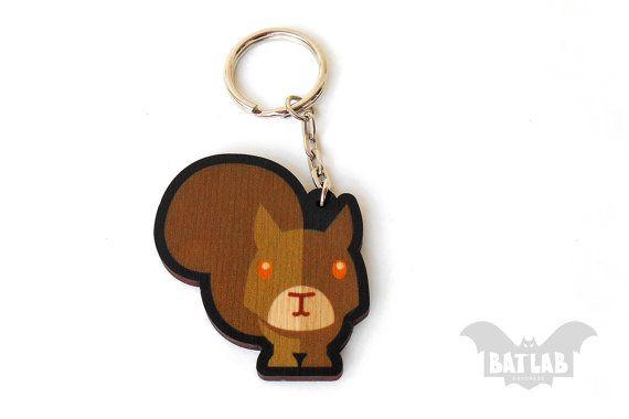Animal Keychain from wood Squirrel handmade keychain by BatLab