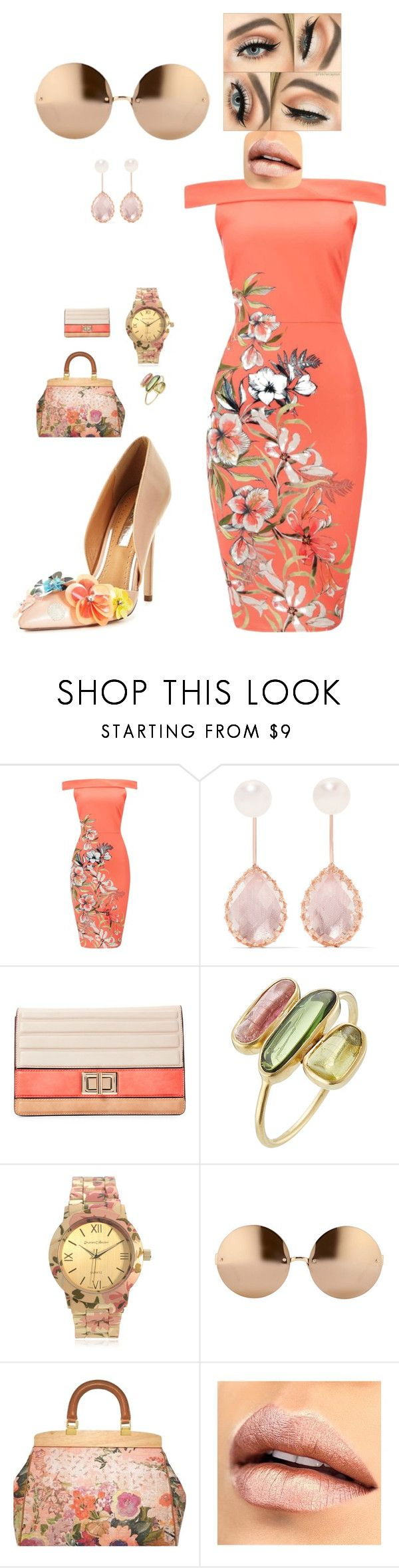 """""""Floral look"""" by crystaltrends on Polyvore featuring Larkspur & Hawk, Melie Bianco, Pippa Small, Journee Collection, Linda Farrow, Tory Burch and Miss KG"""