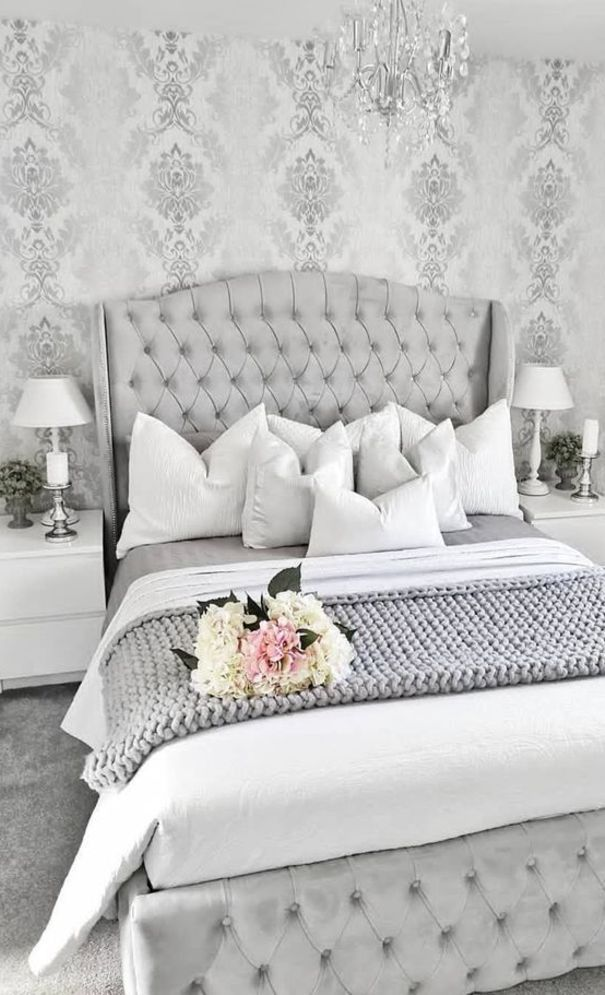 59 New Trend Modern Bedroom Design Ideas For 2020 Part 53 Grey Bedroom Design Elegant Bedroom Silver And Grey Bedroom