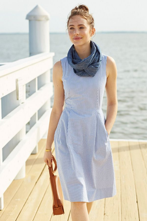 L.L.Bean Signature Seersucker Sleeveless Dress. Fattering fit-and-flare silhouette. 100% cotton seersucker, perfect for warm weather. Bateau neckline, darts at the waist and a removable self-fabric belt. Side pockets and concealed back zipper. Lingerie loops hide bra straps. Unlined.