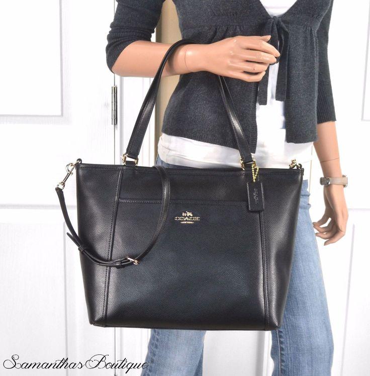 47624d2a989 ... Coach Black Crossgrain Leather Pocket Tote Shoulder Bag Purse Handbag  eBay ...
