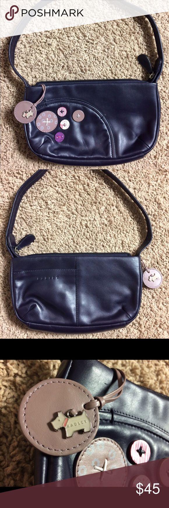 """Radley Dark Blue Small Leather Shoulder Bag! CUTE! Up for sale is a """"Radley"""" small dark blue leather shoulder bag. Cute dog charm connected to bag! In excellent condition inside and out. Comes from a smoke free home. Radley London Bags Shoulder Bags"""