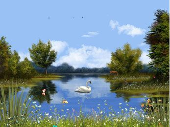 Winter Lake :: Lakes Animated Desktop screensavers