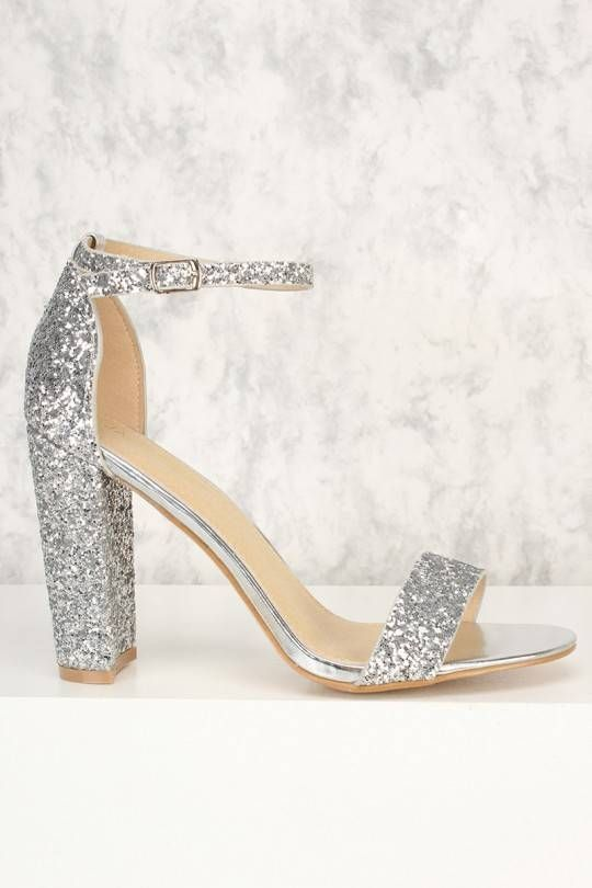 0eee378e969 Silver Glittery Accent Open Toe Chunky High Heels Faux Leather in ...