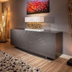 Luxury Large Modern Sideboard Cabinet Buffet In Grey Sparkle Gloss