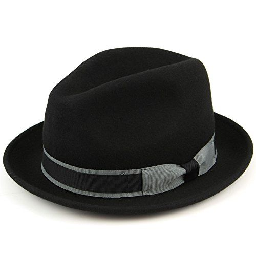 150 kr. Hawkins Black 100% Wool trilby hat with contrast band and side bow - (58cm) Hawkins http://www.amazon.co.uk/dp/B00VV7D5BW/ref=cm_sw_r_pi_dp_VBi3wb0AKB5Y6