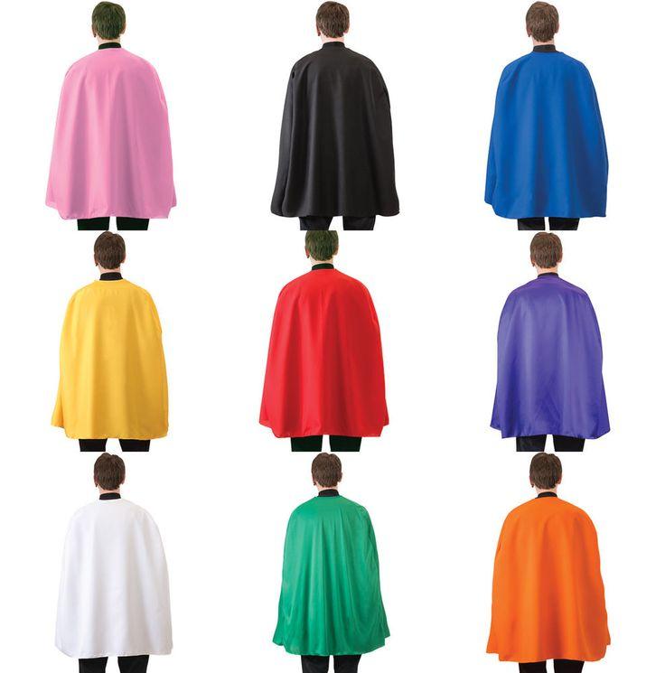 "ADULT SUPERHERO COSTUME CAPE MENS WOMENS 36"" COSTUME CAPE CLOAK BLACK RED BLUE #RGCostumes"