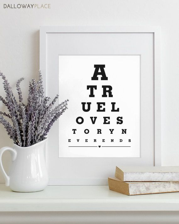 Wall Art Print Eye Chart love quote art by DallowayPlace on Etsy
