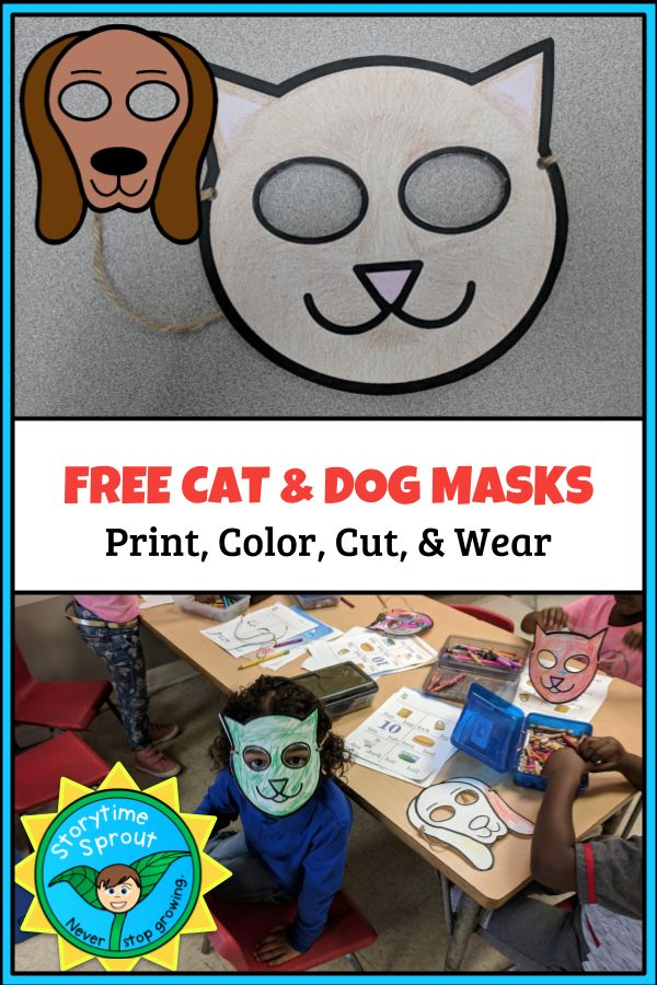 Free printable dog and cat masks for children's pet themed storytime or scho… – Library