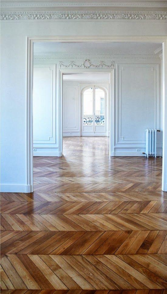 French Paneling & Wood Floors: beautiful herringbone flooring... I wonder how much time it would take to put down.
