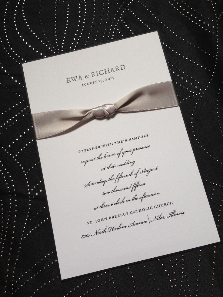 Black white and silver ribbon wedding invitation
