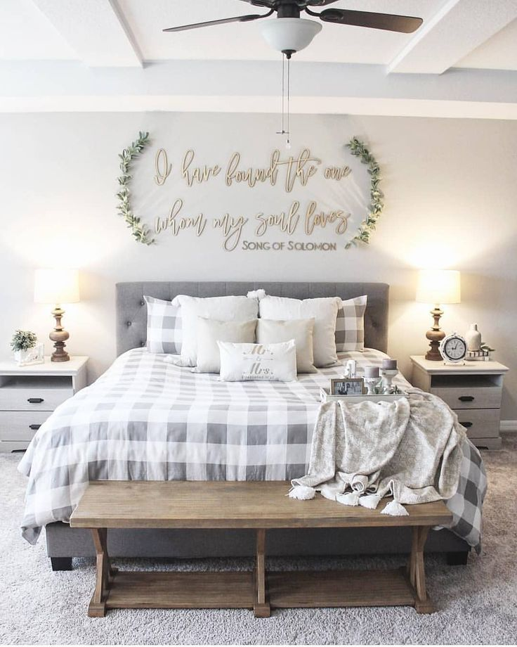 "Farmhouse Homes 🏡 on Instagram: ""This farmhouse bedroom is so cute! Love th…"