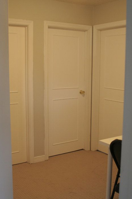 How to turn plain brown doors into pretty new doors. (Scroll down past the baby pictures)