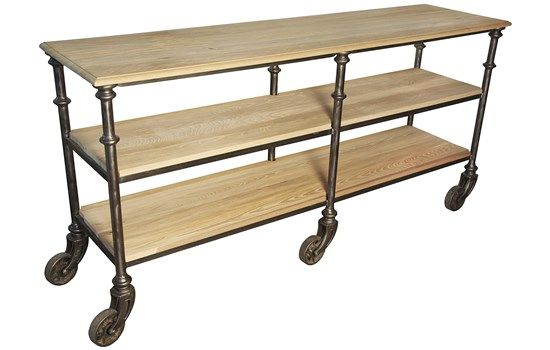Art006s ow 70 console wheels w 70 d 20 h 34 6foot for Sofa table on wheels