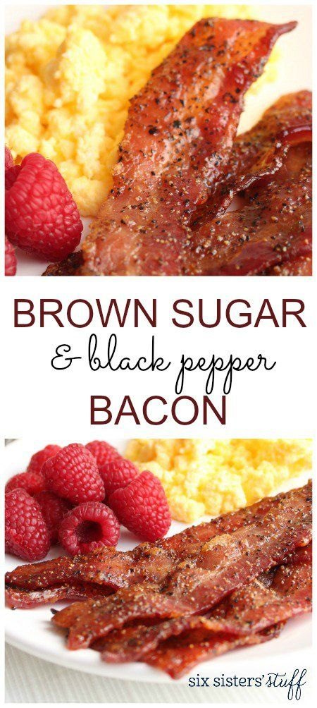 Brown Sugar and Black Pepper Bacon from SixSistersStuff.com | This sugary glazed bacon is to die for! A perfect addition to your weekend breakfast!