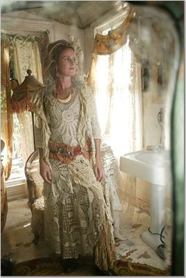 Re-purposing old lace linens as clothes:  I love these.