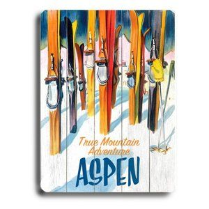 Artehouse 14 x 20 in. Aspen True Mountain Adventure Wood Sign
