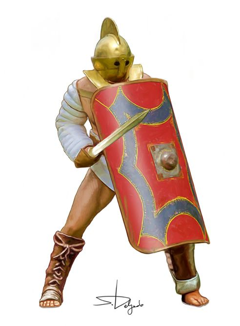 Gladiateur : Secutor. Illustration par Sandra Delgado.