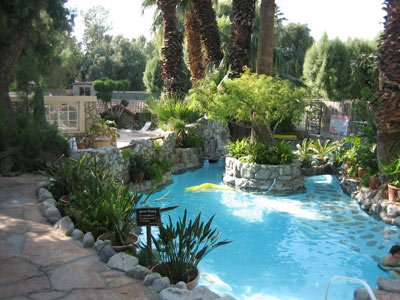 Natural Hot springs pools at Two Bunch Palms Resort  Spa in Palm Springs, California