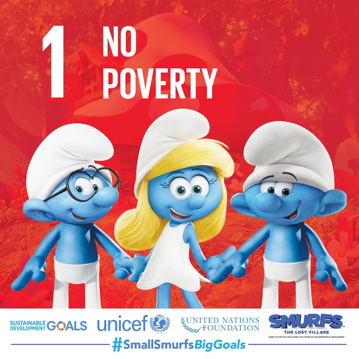 Join #TeamSmurfs, the United Nations, and UNICEF to end poverty in all forms, everywhere. Visit www.smallsmurfsbiggoals.com to learn how you can help!   #SmallSmurfsBigGoals