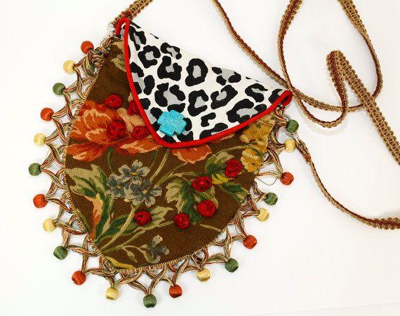 Boho Chic Handmade Fabric Purse That Walks A by raspberrypotpourri, $75.00